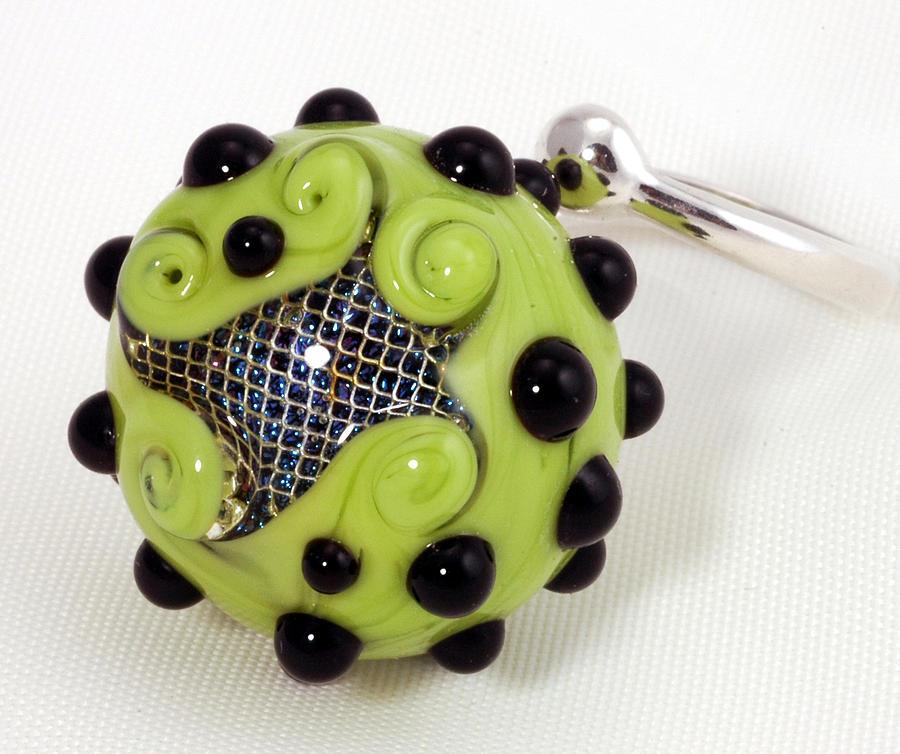 Jewelry Glass Art - Dicro Screen Ring by Jennifer Ross