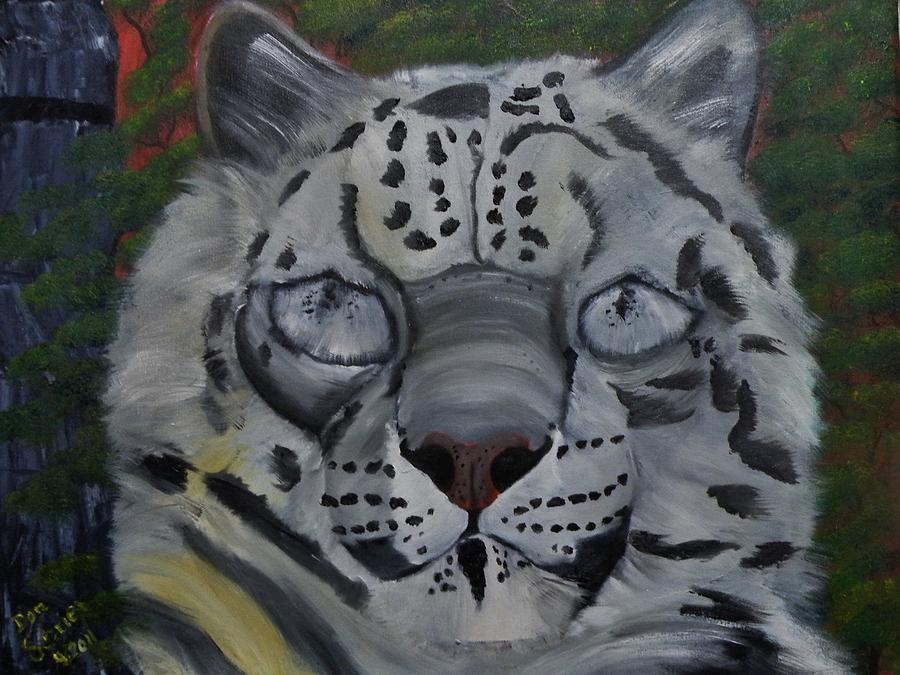 Animals Painting - Did You Ever See A Snow Leopard Blink by Donald Schrier