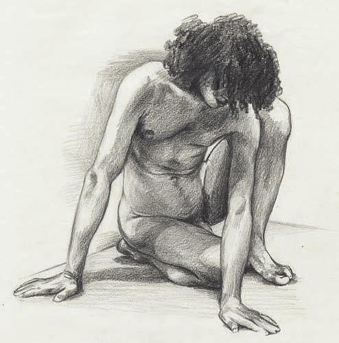 Male Drawing - Didier - London by Amy S Turner