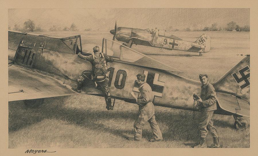 Fw 190 Drawing - Die Jager by Wade Meyers