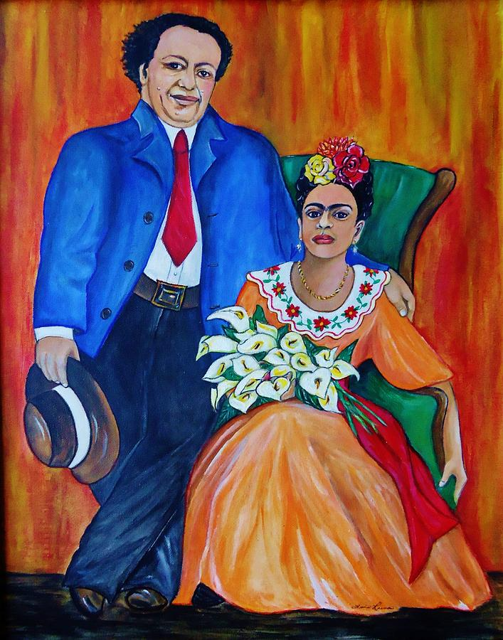 diego rivera and frida kahlo portrait painting by lois rivera