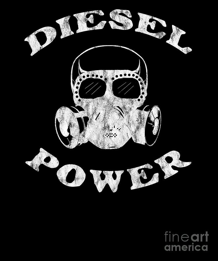 Diesel Power Gas Mask Skull Truck Offroad White Distressed Digital Art by Henry B