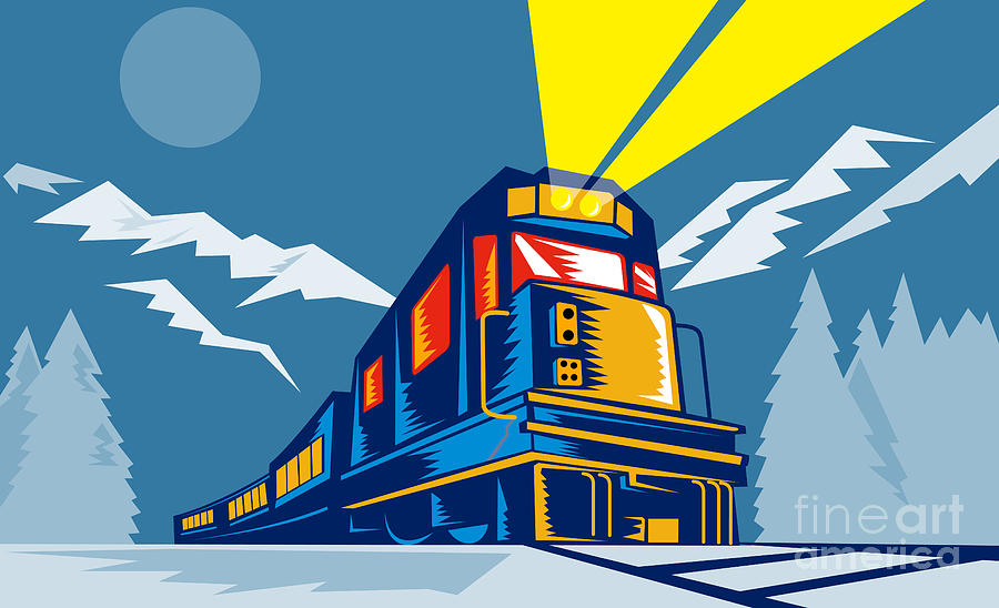 Diesel Train Winter Digital Art