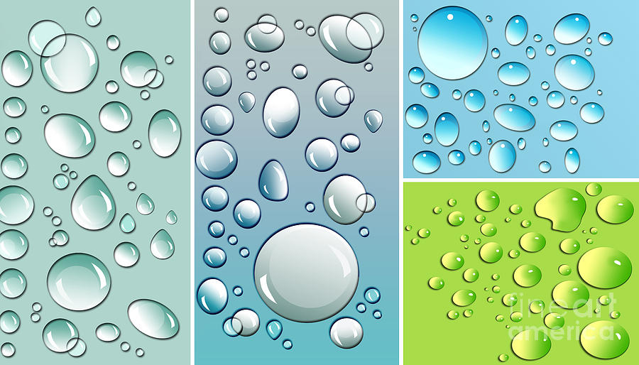 Abstract Digital Art - Different Size Droplets On Colored Surface by Sandra Cunningham