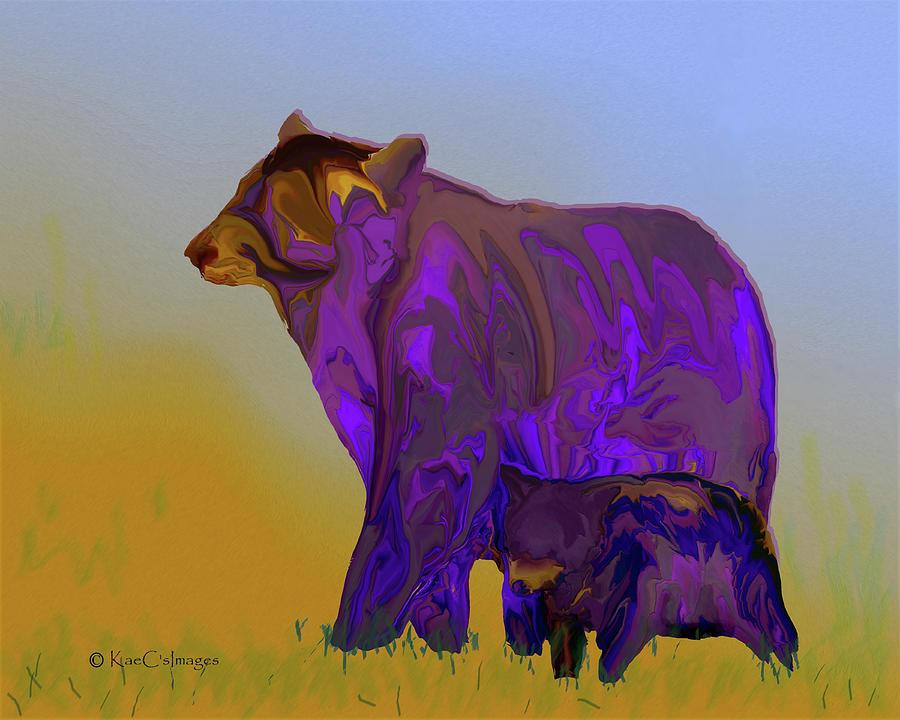 Wild Animal Digital Art - Digital Black Bear Sow And Cub by Kae Cheatham