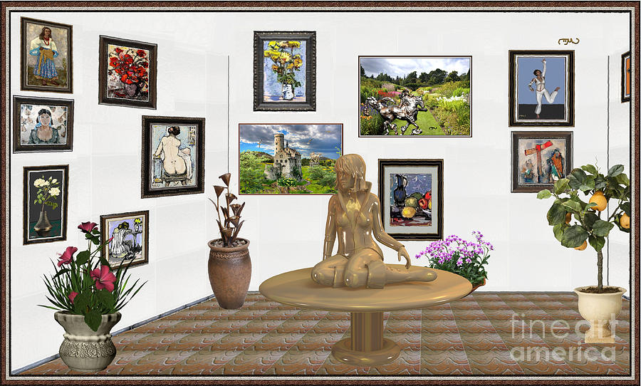 Post-impressionism Mixed Media - digital exhibition _Statue 2 of posing girl 221 by Pemaro