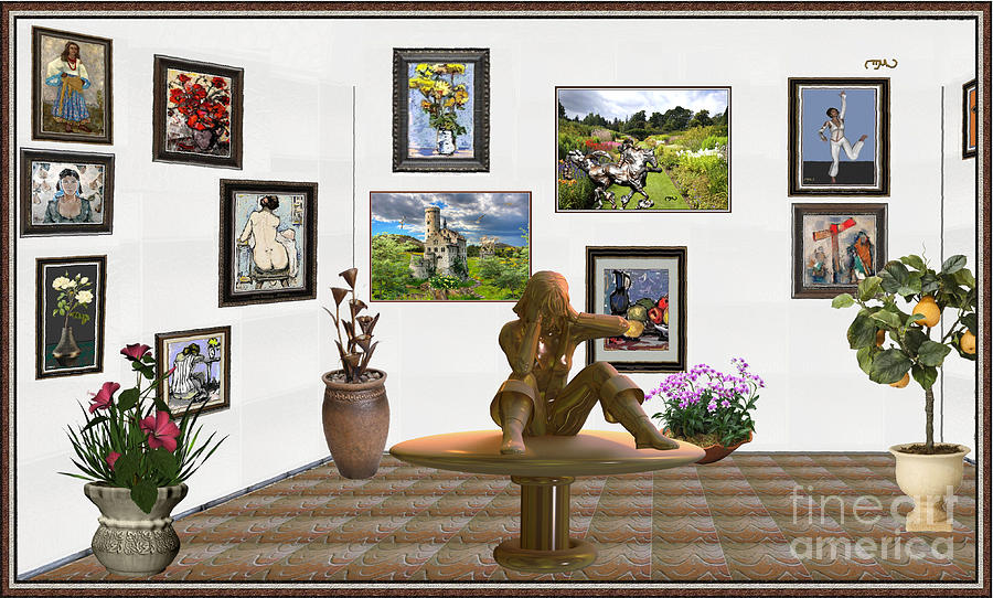 Post-impressionism Mixed Media - digital exhibition _Statue 4 of posing girl 221 by Pemaro