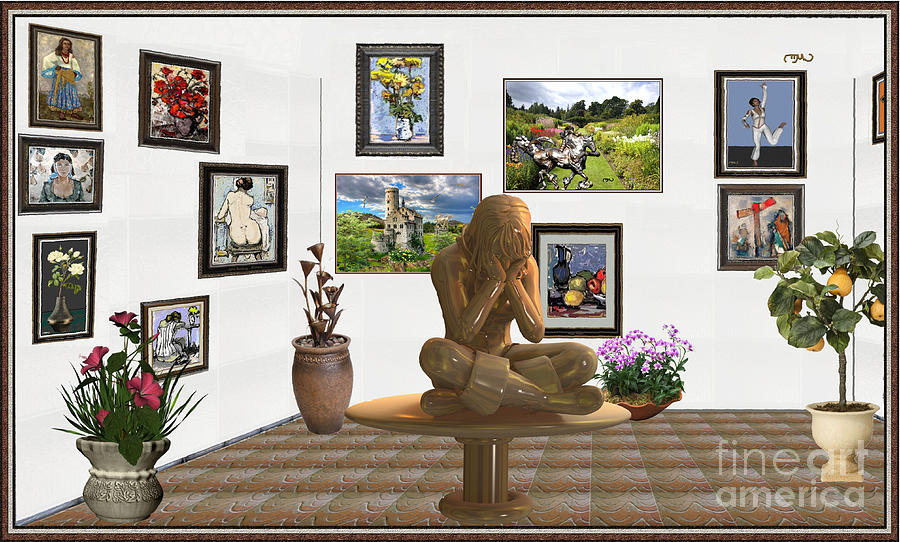 Post-impressionism Mixed Media - digital exhibition _Statue 5 of posing girl 221 by Pemaro