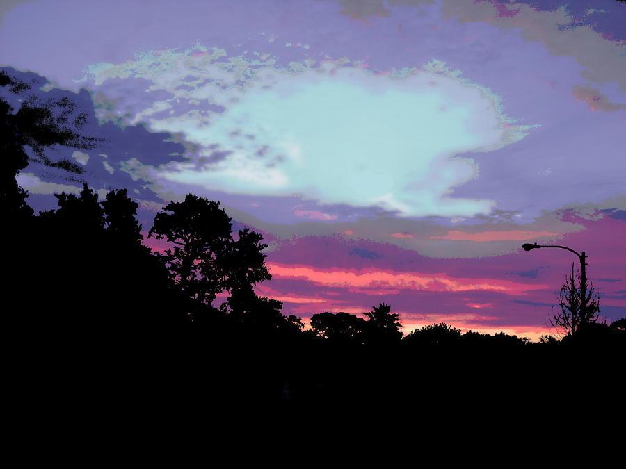 Original Painting - Digital Fine Art Work Sunrise In Violet Gulf Coast Florida by G Linsenmayer