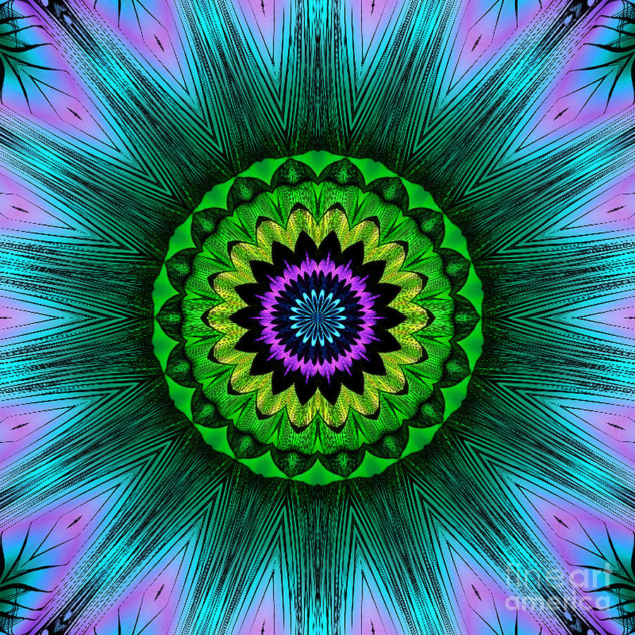 Kaleidoscope Digital Art - Digital Kaleidoscope Mandala 50 by Sofia Metal Queen