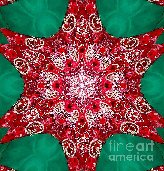 Kaleidoscope Digital Art - Digital Kaleidoscope Red-green-white 8 by Sofia Metal Queen
