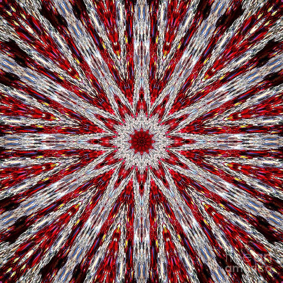 Kaleidoscope Digital Art - Digital Kaleidoscope Red-white 7 by Sofia Metal Queen