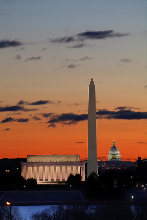 Metro Digital Art - Digital Liquid -  Monuments At Sunrise by Metro DC Photography