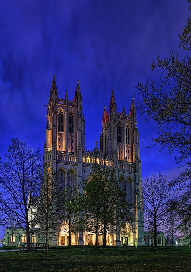 Metro Digital Art - Digital Liquid - Washington National Cathedral After Sunset by Metro DC Photography