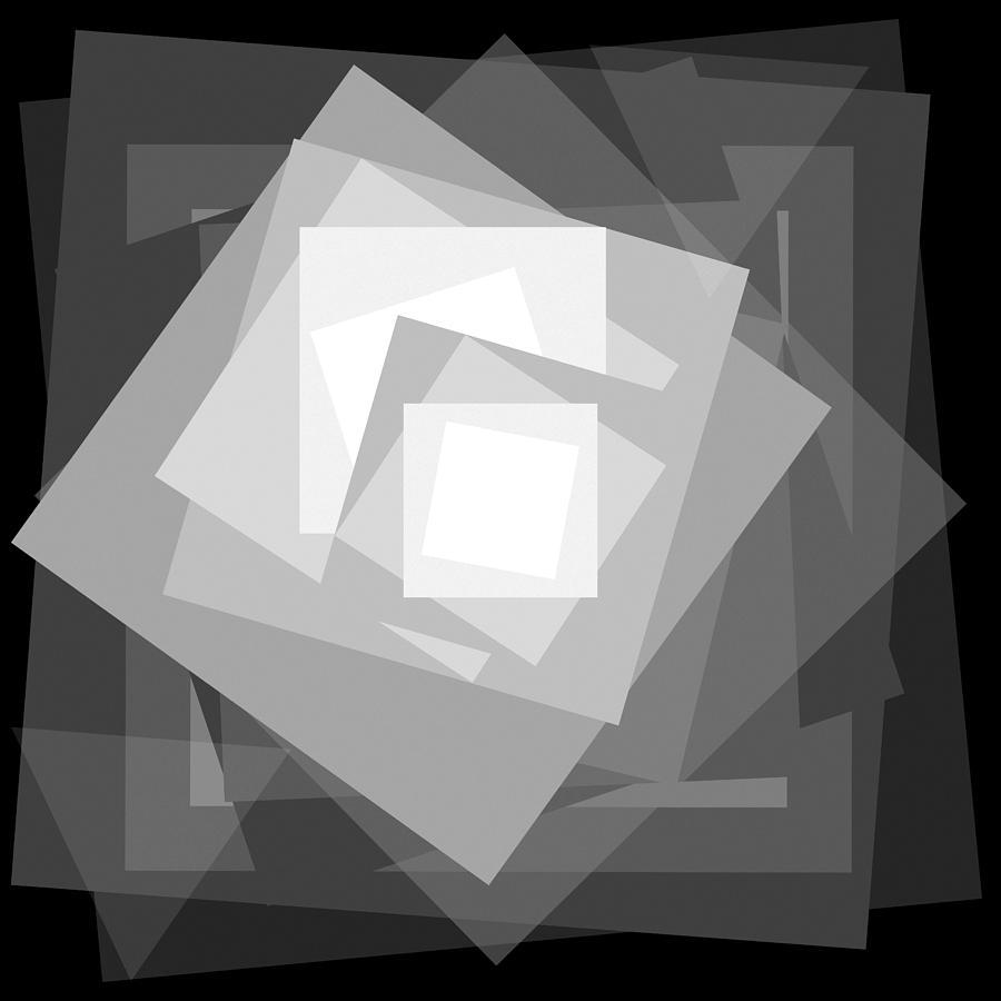 Black Drawing - Digital Rose. Black And White by Ewelina Karbownik