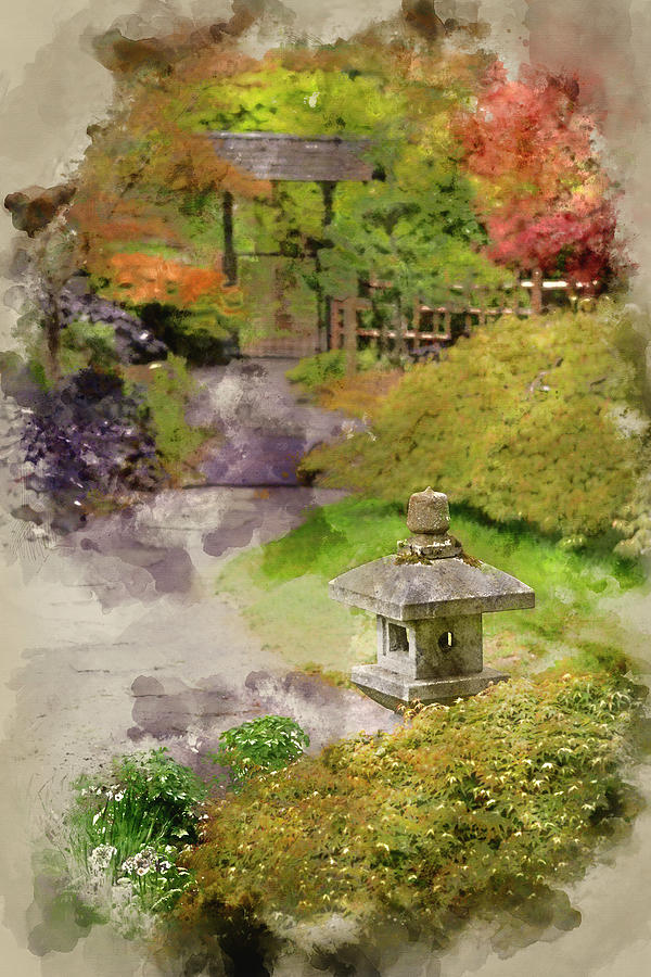 Digital Watercolor Painting Of Japanese Zen Garden Landscape