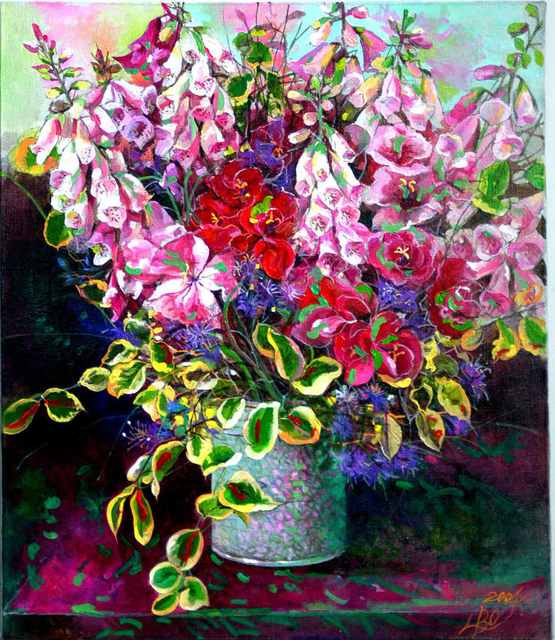 Flower Painting - Digitalis And Lilac  by Bo Li