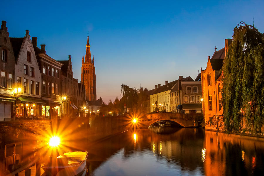 Bruges Photograph - Dijver Canal At Night by Tom and Pat Cory