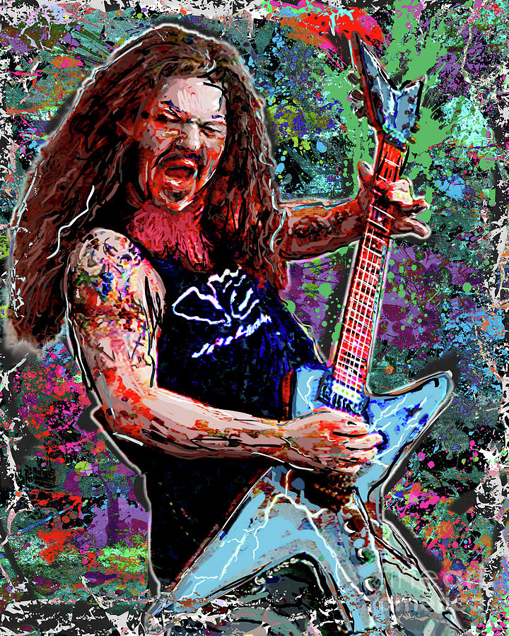 dimebag darrell art pantera mixed media by ryan rock artist