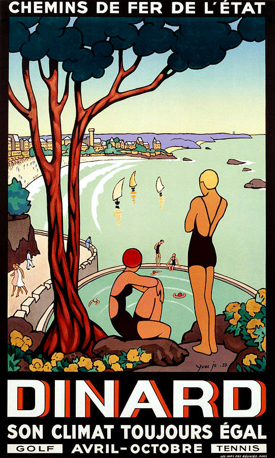 Dinard Painting - Dinard, French Riviera, Two Swimmers  by Long Shot