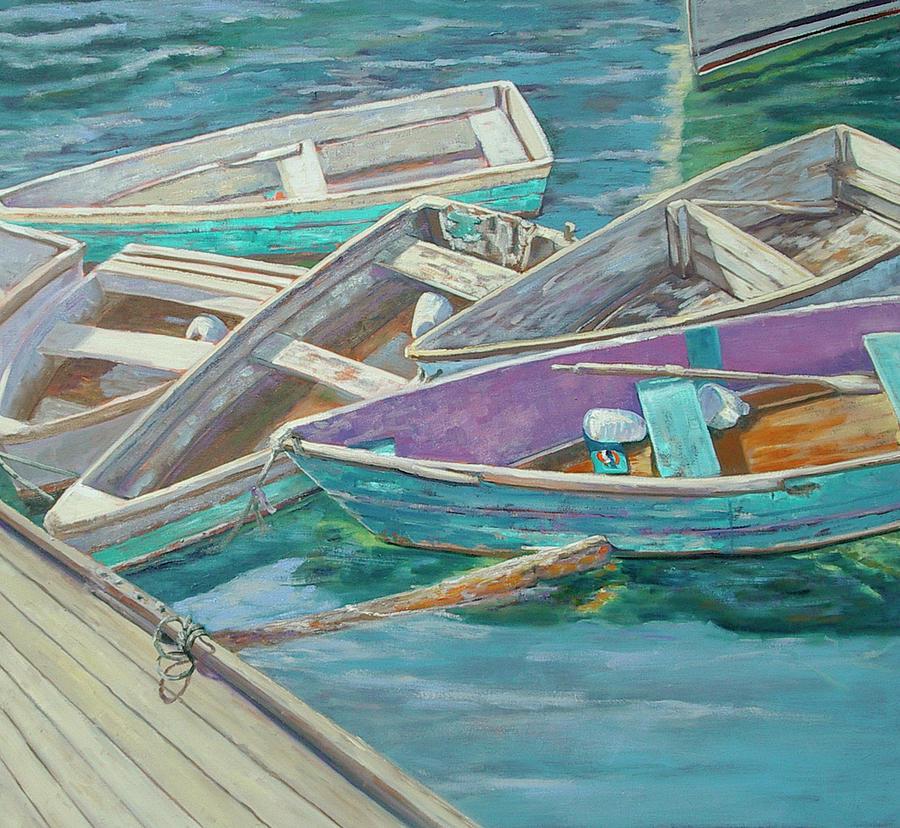 Seaside Painting - Dinghies All Tied Up by Barbara Hageman