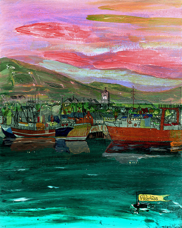 Dingle Painting - Dingle Twilight. by Frank Maguire