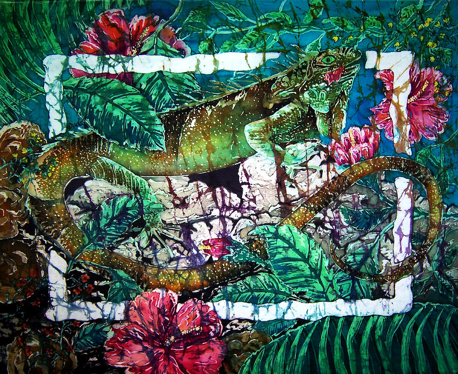 Iguana Painting - Dining At The Hibiscus Cafe - Iguana by Sue Duda