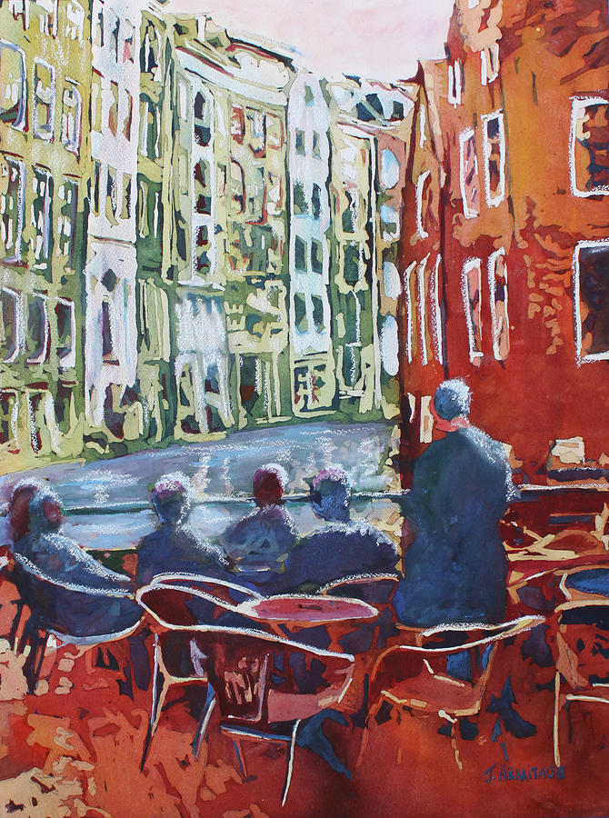 Amsterdam Painting - Dining Canalside by Jenny Armitage