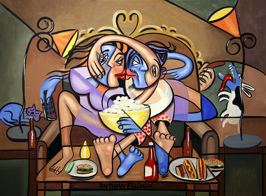 Love Painting - Dinner And A Movie by Anthony Falbo