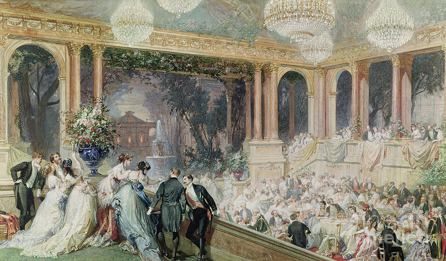 Dinner Painting - Dinner At The Tuileries by Henri Baron