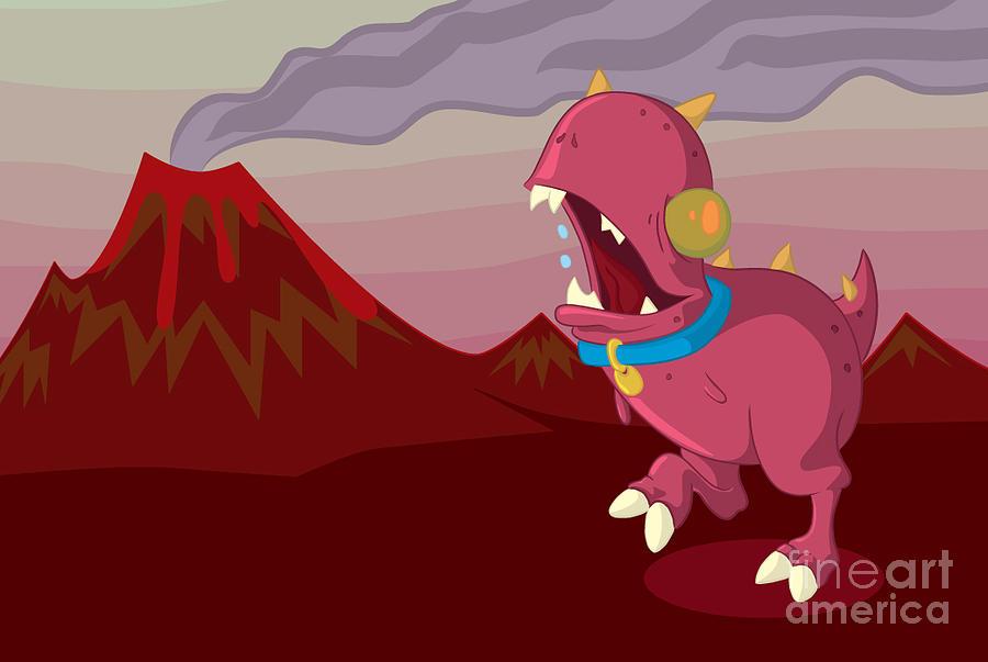 Illustrator Drawing - Dino by Kyle Harper