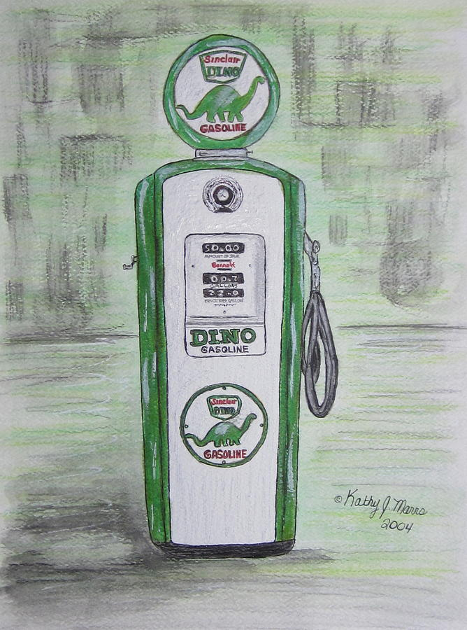 Dino Painting - Dino Sinclair Gas Pump by Kathy Marrs Chandler