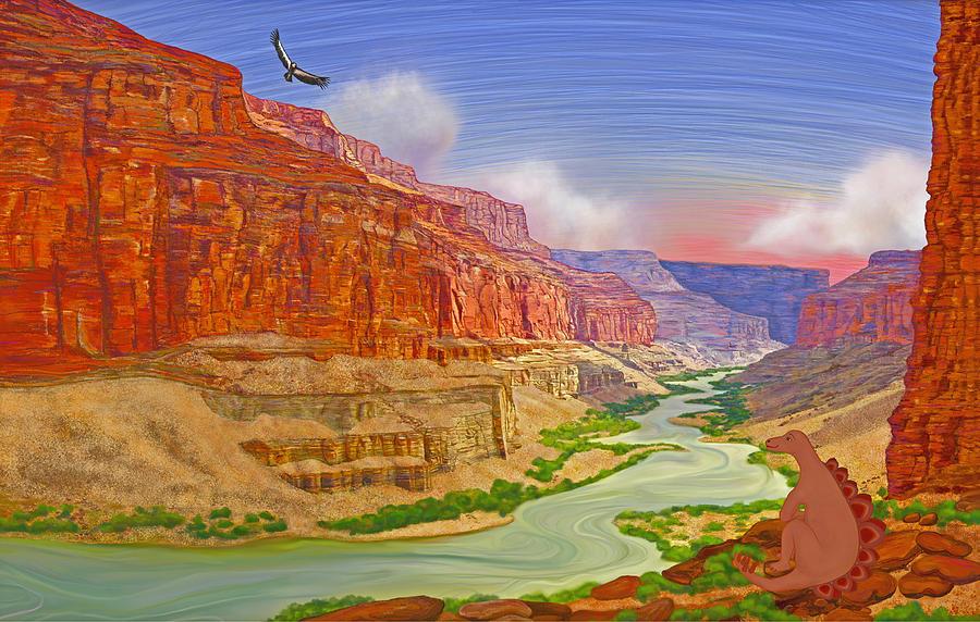 Dinosaur At Grand Canyon Drawing by Laura Calhoun