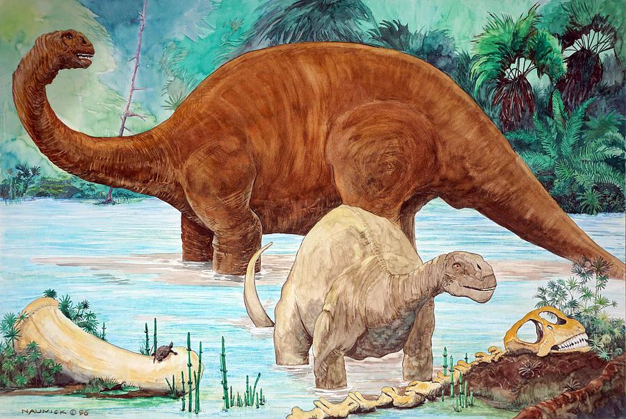 Dinosaur Painting - Dinosaur National Monument 140 Million Years Ago by Dennis Naumick