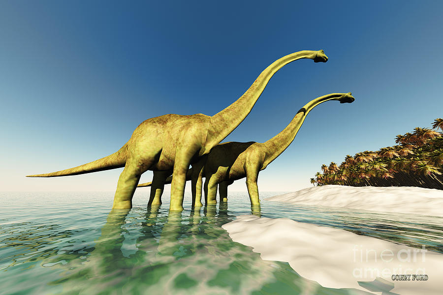 Diplodocus Painting - Dinosaur World by Corey Ford