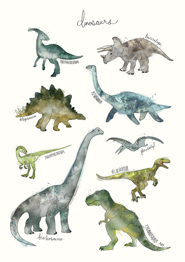 Dinosaurs Painting - Dinosaurs by Amy Hamilton