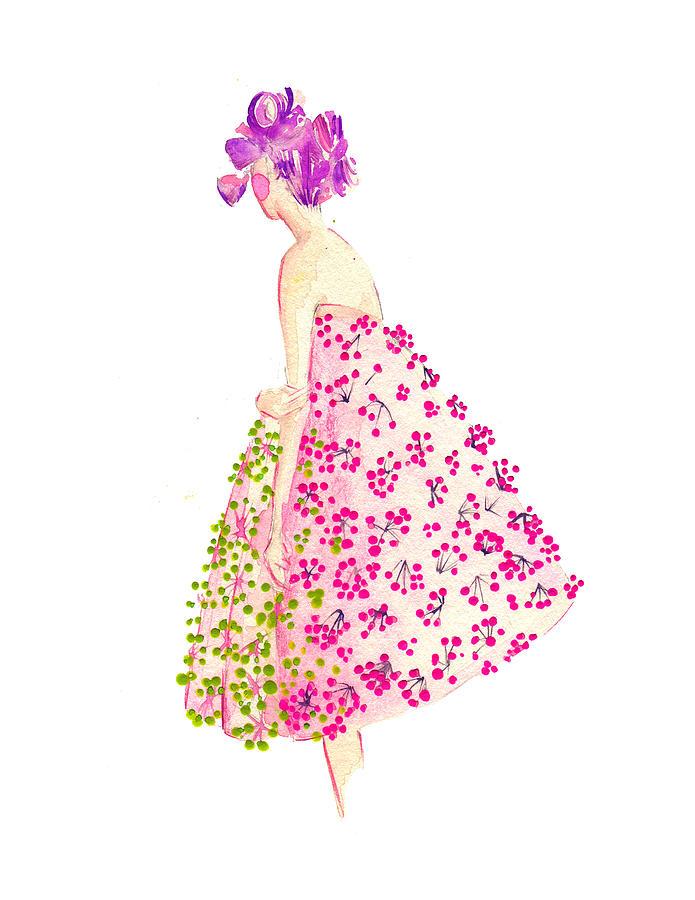 Dior Floral Dress Watercolor Fashion Illustration