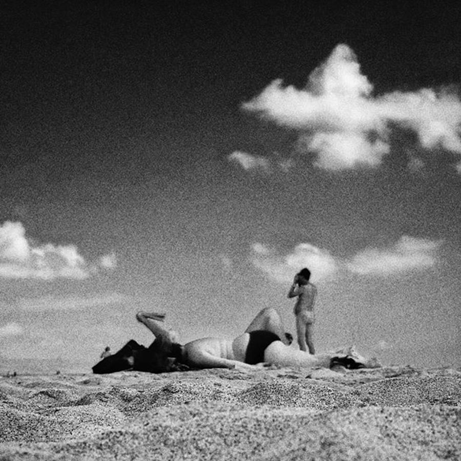 Sky Photograph - Diorama  #beach #people #summer #sky by Rafa Rivas