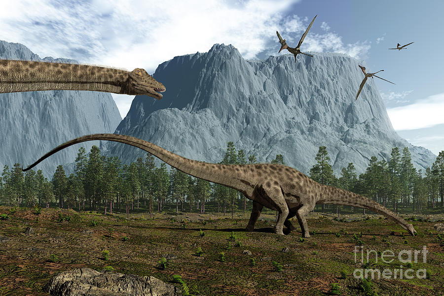 Earth Digital Art - Diplodocus Dinosaurs Graze While by Walter Myers