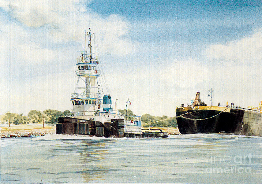 Tug Boats Painting - Diplomat by P Anthony Visco