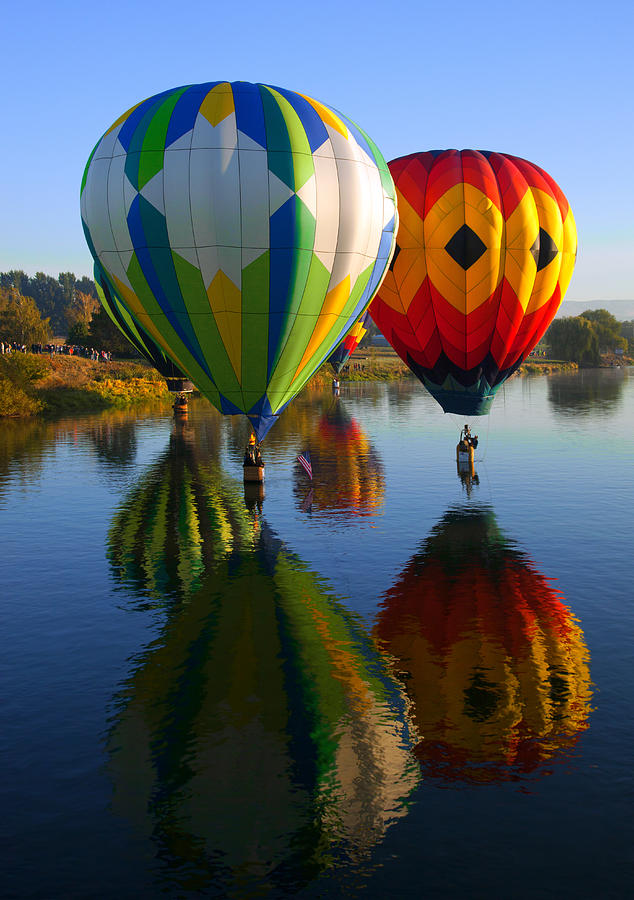 Hot-air Balloon Photograph - Dipping The Basket by Mike  Dawson