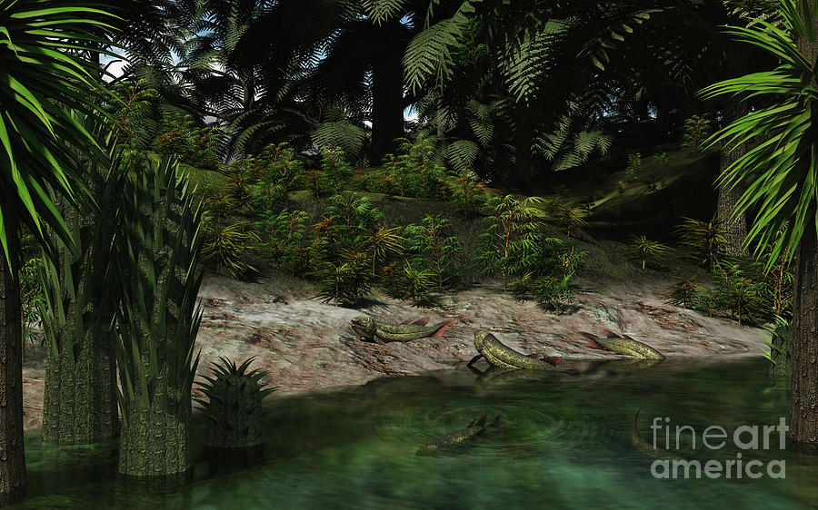 Earth Digital Art - Dipterus Fish Emerge From A Devonian by Walter Myers