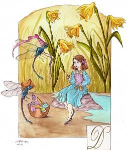 Fairy Painting - Diredre Darns Damselfly Dainties Underneath Delightful Daffodils by Linsay Blondeau