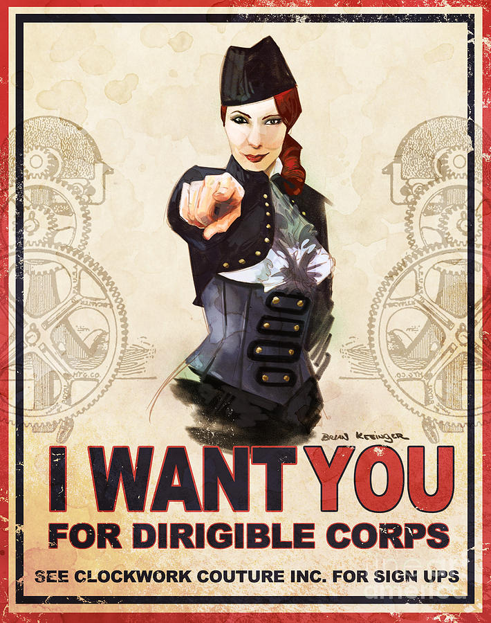 Felicia Day Digital Art - Dirigible Corps by Brian Kesinger