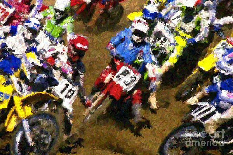 Sports Painting - Dirt Bike Race by Don Phillips
