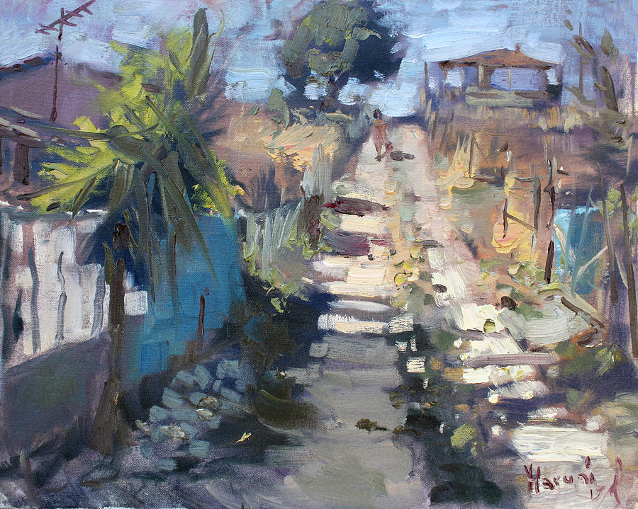 Dirt Road Painting - Dirt Road At Kostas Garden by Ylli Haruni