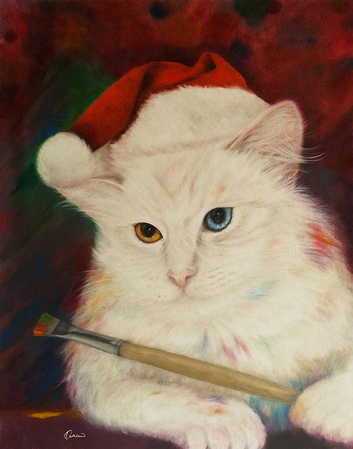 Cat Painting - Christmas Cat by Kathleen Wong