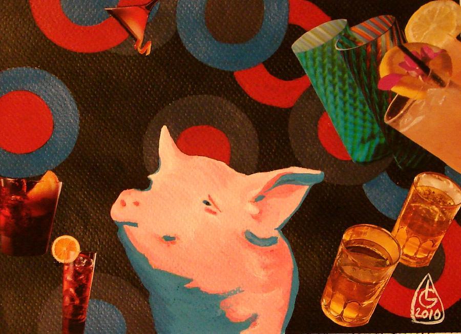 Pig Mixed Media - Disco Pink Pig by Luminita Gliga