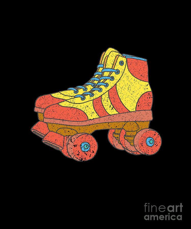 e060234f4cb1b 1970s Digital Art - Disco Roller Skates 1970s Disco Funk Vintage Retro Neon  Funky by Henry