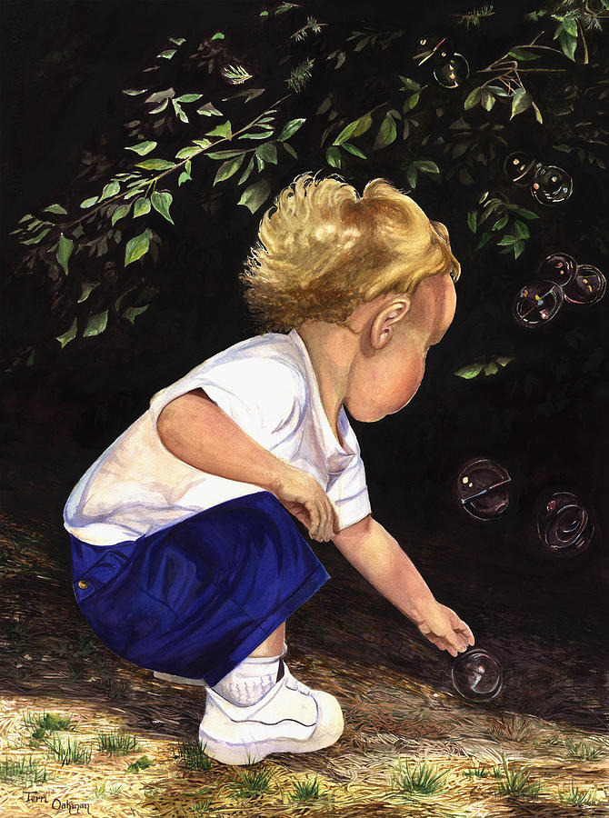 Portrait Painting - Discovering Bubbles by Terri  Meyer